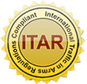 ITAR logo badge. International Traffic In Arms Regulations Compliant.